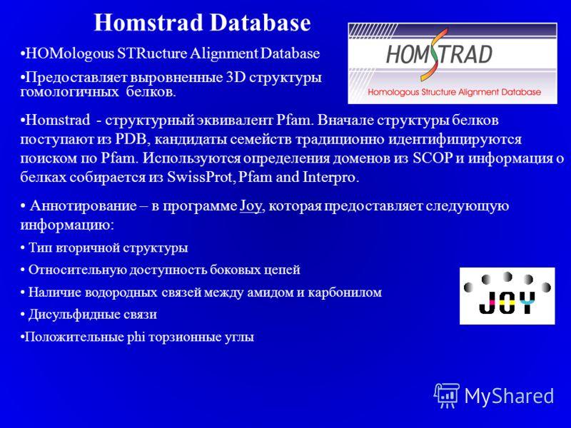 Homstrad Database HOMologous STRucture Alignment Database Предоставляет выровненные 3D структуры гомологичных белков. Homstrad - структурный эквивалент Pfam. Вначале структуры белков поступают из PDB, кандидаты семейств традиционно идентифицируются п