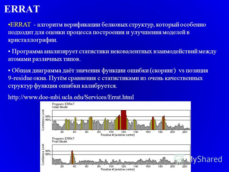 ERRAT ERRAT - алгоритм верификации белковых структур, который особенно подходит для оценки процесса построения и улучшения моделей в кристаллографии. Программа анализирует статистики нековалентных взаимодействий между атомами различных типов. Общая д