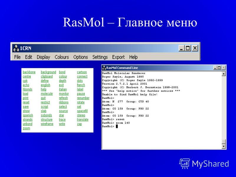 RasMol – Главное меню