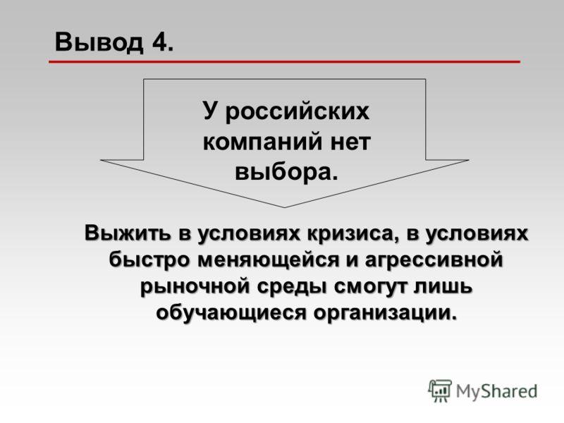 Выжить в условиях кризиса, в условиях быстро меняющейся и агрессивной рыночной среды смогут лишь обучающиеся организации. У российских компаний нет выбора. Вывод 4.