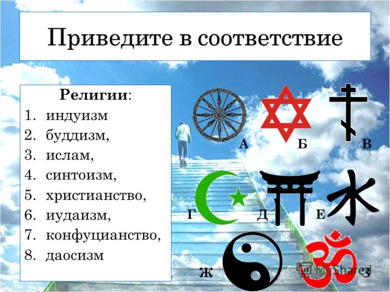 Религии : 1.индуизм 2.буддизм, 3.ислам, 4.синтоизм, 5.христианство, 6.иудаизм, 7.конфуцианство, 8.даосизм АБВ ГДЕ ЖЗ