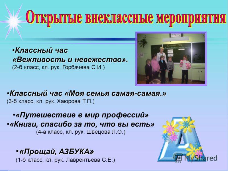 Классный час «Вежливость и невежество». (2-б класс, кл. рук. Горбачева С.И.) Классный час «Моя семья самая-самая.» (3-б класс, кл. рук. Хаюрова Т.П.) «Путешествие в мир профессий» «Книги, спасибо за то, что вы есть» (4-а класс, кл. рук. Швецова Л.О.)