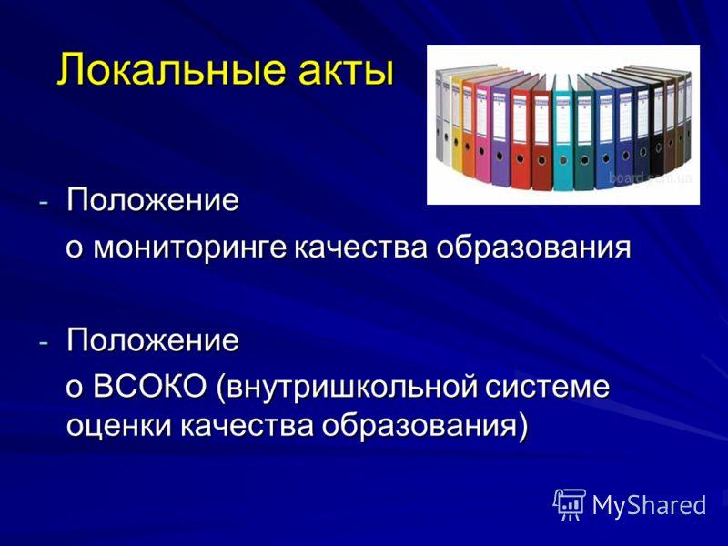 Локальные акты - Положение о мониторинге качества образования о мониторинге качества образования - Положение о ВСОКО (внутришкольной системе оценки качества образования) о ВСОКО (внутришкольной системе оценки качества образования)