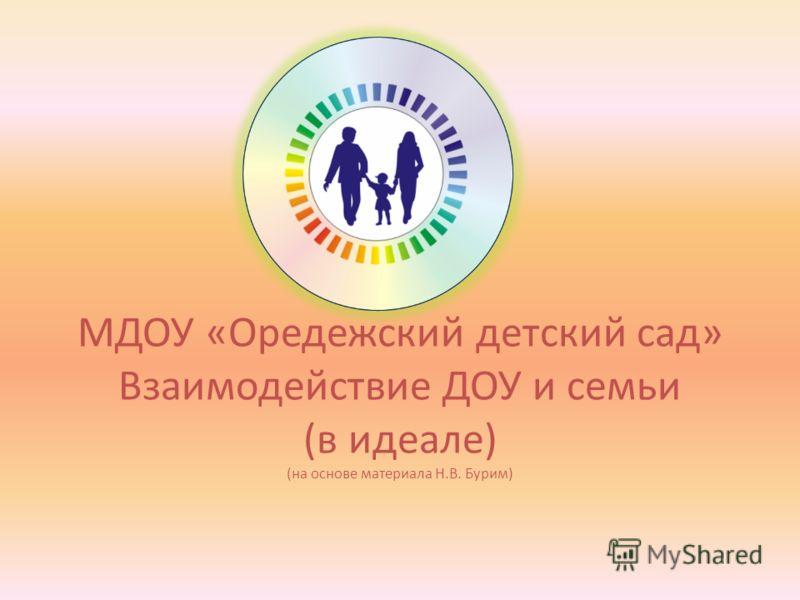 МДОУ «Оредежский детский сад» Взаимодействие ДОУ и семьи (в идеале) (на основе материала Н.В. Бурим)