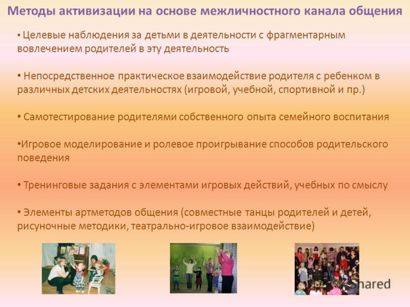 Методы активизации на основе межличностного канала общения Целевые наблюдения за детьми в деятельности с фрагментарным вовлечением родителей в эту деятельность Непосредственное практическое взаимодействие родителя с ребенком в различных детских деяте