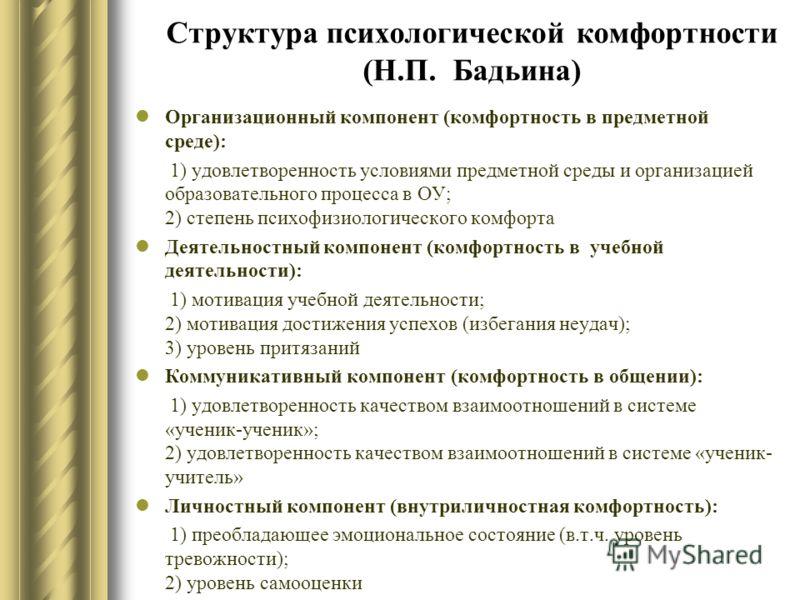 Структура психологической комфортности (Н.П. Бадьина) Организационный компонент (комфортность в предметной среде): 1) удовлетворенность условиями предметной среды и организацией образовательного процесса в ОУ; 2) степень психофизиологического комфорт