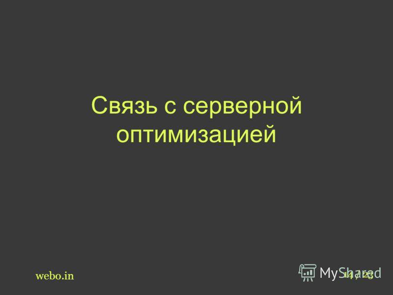 Связь с серверной оптимизацией webo.in 14 / 23
