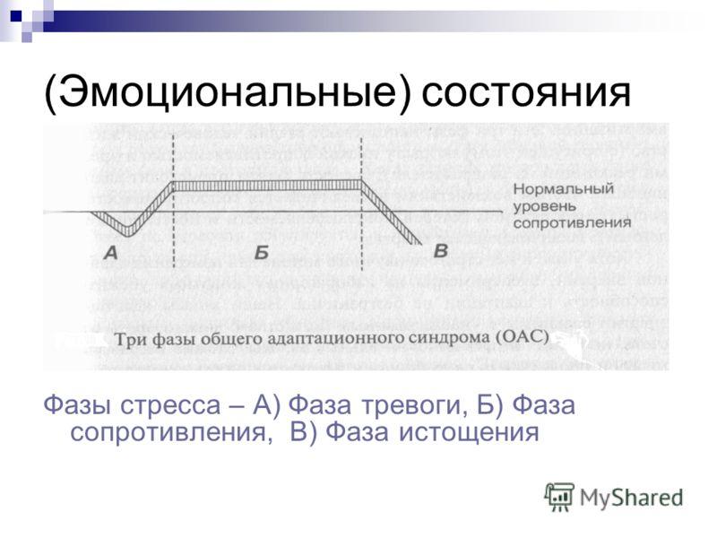 (Эмоциональные) состояния Фазы стресса – А) Фаза тревоги, Б) Фаза сопротивления, В) Фаза истощения