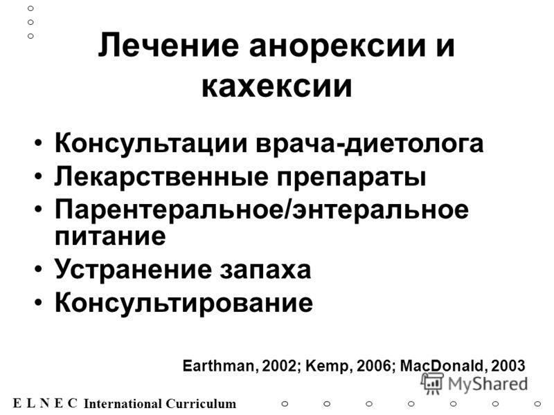ENECL International Curriculum Лечение анорексии и кахексии Консультации врача-диетолога Лекарственные препараты Парентеральное/энтеральное питание Устранение запаха Консультирование Earthman, 2002; Kemp, 2006; MacDonald, 2003