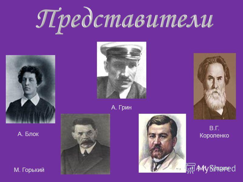 А. Блок М. Горький В.Г. Короленко А.И. Куприн А. Грин