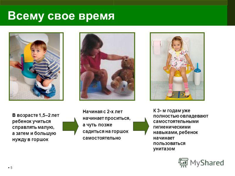 5 Всему свое время В возрасте 1,5–2 лет ребенок учиться справлять малую, а затем и большую нужду в горшок К 3- м годам уже полностью овладевают самостоятельными гигиеническими навыками, ребенок начинает пользоваться унитазом Начиная с 2-х лет начинае