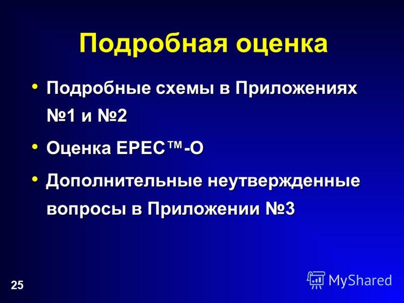 25 Подробная оценка Подробные схемы в Приложениях 1 и 2 Подробные схемы в Приложениях 1 и 2 Оценка EPEC-O Оценка EPEC-O Дополнительные неутвержденные вопросы в Приложении 3 Дополнительные неутвержденные вопросы в Приложении 3