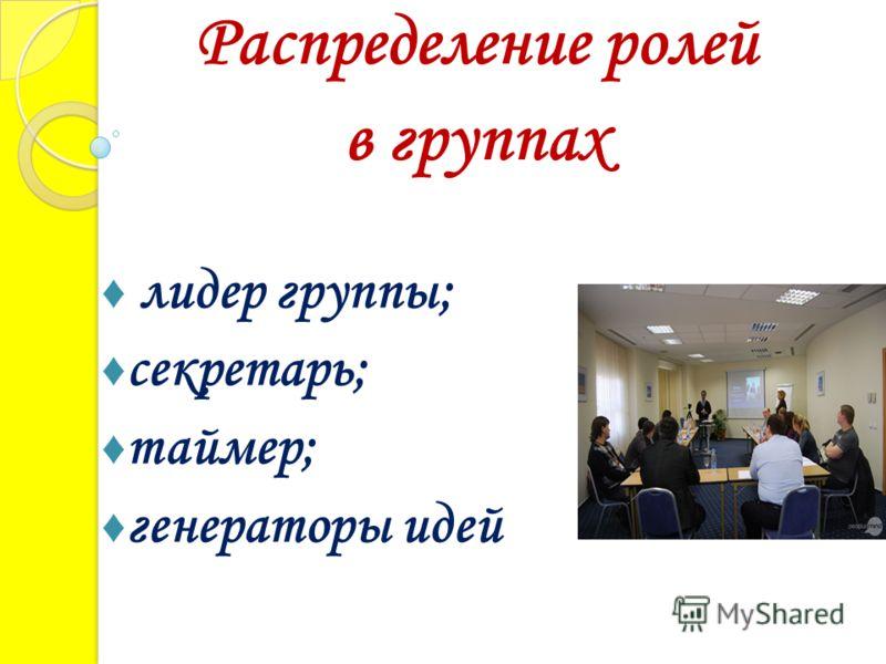 лидер группы; секретарь; таймер; генераторы идей Распределение ролей в группах