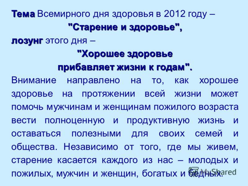 Тема Тема Всемирного дня здоровья в 2012 году –