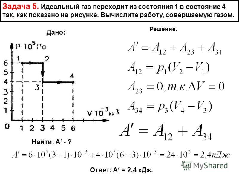 Задача 5. Идеальный газ переходит из состояния 1 в состояние 4 так, как показано на рисунке. Вычислите работу, совершаемую газом. Дано: Найти: А - ? Решение. Ответ: А = 2,4 кДж.