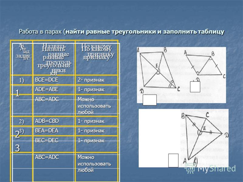 Работа в парах (найти равные треугольники и заполнить таблицу зад ач зад ач Назвать равные треуголь ники По какому признаку 1)BCE=DCE 2- признак ADE=ABE 1- признак ABC=ADC Можно использовать любой 2)ADB=CBD 1- признак 3)BEA=DEA BEC=DEC ABC=ADC Можно