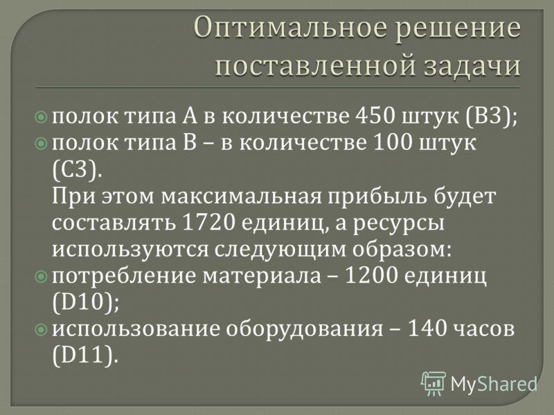 полок типа А в количестве 450 штук ( В 3); полок типа В – в количестве 100 штук ( С 3). При этом максимальная прибыль будет составлять 1720 единиц, а ресурсы используются следующим образом : потребление материала – 1200 единиц (D10); использование об