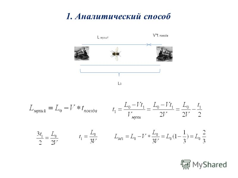 1. Аналитический способ L мухи1 V*t поезда L0L0