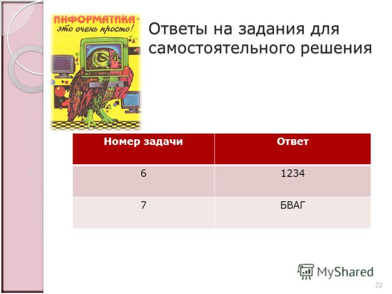 Ответы на задания для самостоятельного решения Номер задачиОтвет 61234 7БВАГ 22