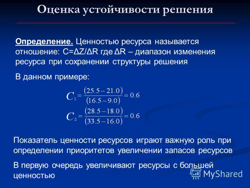 Оценка устойчивости решения Определение. Ценностью ресурса называется отношение: С=ΔZ/ΔR где ΔR – диапазон изменения ресурса при сохранении структуры решения В данном примере: Показатель ценности ресурсов играют важную роль при определении приоритето