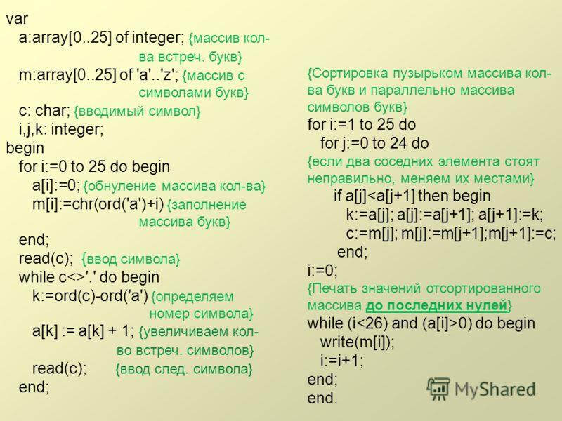 var a:array[0..25] of integer; {массив кол- ва встреч. букв} m:array[0..25] of 'a'..'z'; {массив с символами букв} c: char; {вводимый символ} i,j,k: integer; begin for i:=0 to 25 do begin a[i]:=0; {обнуление массива кол-ва} m[i]:=chr(ord('a')+i) {зап