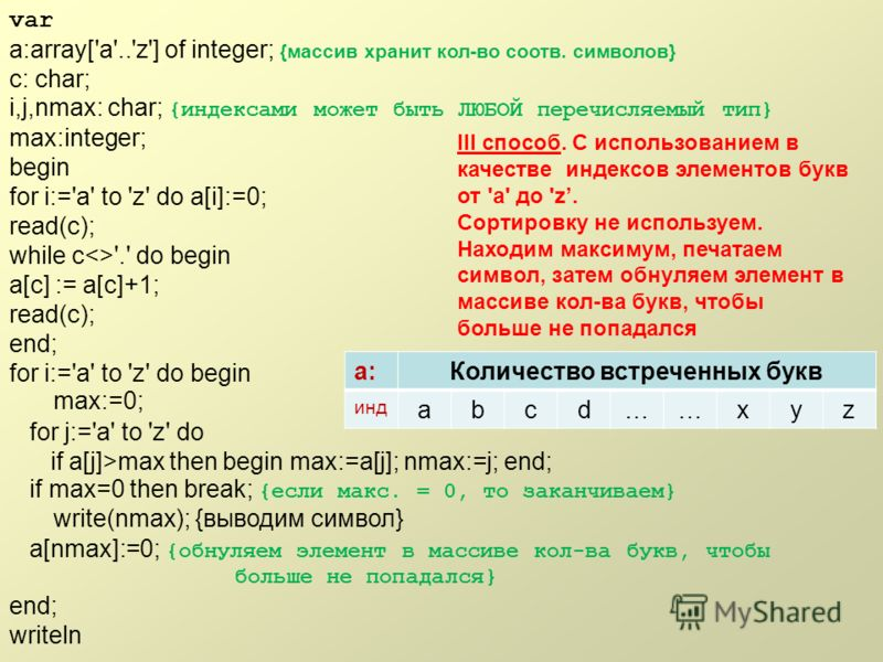 var a:array['a'..'z'] of integer; {массив хранит кол-во соотв. символов} c: char; i,j,nmax: char; {индексами может быть ЛЮБОЙ перечисляемый тип} max:integer; begin for i:='a' to 'z' do a[i]:=0; read(c); while c'.' do begin a[c] := a[c]+1; read(c); en