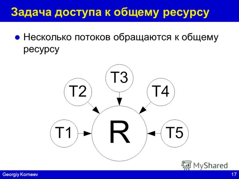 17Georgiy Korneev Задача доступа к общему ресурсу Несколько потоков обращаются к общему ресурсу