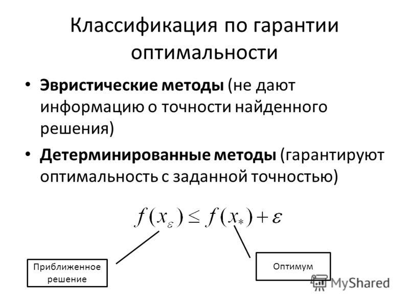 Классификация по гарантии оптимальности Эвристические методы (не дают информацию о точности найденного решения) Детерминированные методы (гарантируют оптимальность с заданной точностью) Оптимум Приближенное решение
