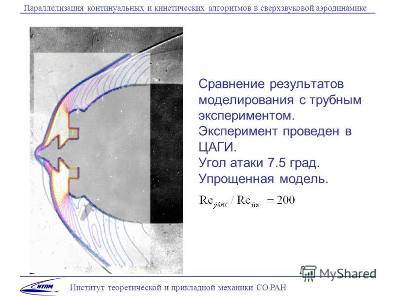Институт теоретической и прикладной механики СО РАН Параллелизация континуальных и кинетических алгоритмов в сверхзвуковой аэродинамике Сравнение результатов моделирования с трубным экспериментом. Эксперимент проведен в ЦАГИ. Угол атаки 7.5 град. Упр