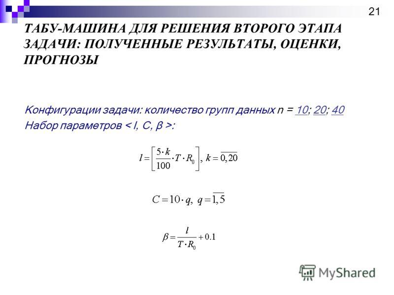 ТАБУ-МАШИНА ДЛЯ РЕШЕНИЯ ВТОРОГО ЭТАПА ЗАДАЧИ: ПОЛУЧЕННЫЕ РЕЗУЛЬТАТЫ, ОЦЕНКИ, ПРОГНОЗЫ 21 Конфигурации задачи: количество групп данных n = 10; 20; 40102040 Набор параметров :