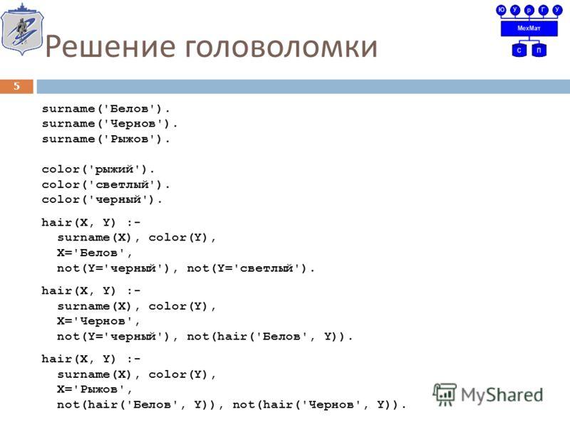 Решение головоломки surname('Белов'). surname('Чернов'). surname('Рыжов'). color('рыжий'). color('светлый'). color('черный'). hair(X, Y) :- surname(X), color(Y), X='Белов', not(Y='черный'), not(Y='светлый'). hair(X, Y) :- surname(X), color(Y), X='Чер