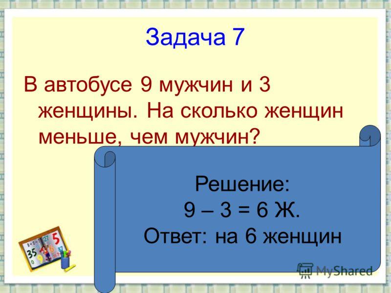 Задача 7 В автобусе 9 мужчин и 3 женщины. На сколько женщин меньше, чем мужчин? Решение: 9 – 3 = 6 Ж. Ответ: на 6 женщин
