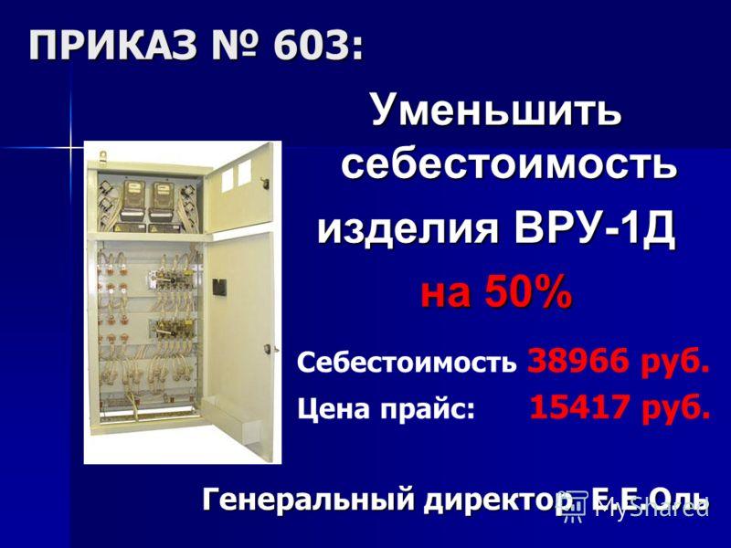 Уменьшить себестоимость изделия ВРУ-1Д на 50% Себестоимость 38966 руб. Цена прайс: 15417 руб. Генеральный директор Е.Е.Оль ПРИКАЗ 603: