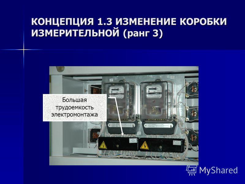 КОНЦЕПЦИЯ 1.3 ИЗМЕНЕНИЕ КОРОБКИ ИЗМЕРИТЕЛЬНОЙ (ранг 3) Большая трудоемкость электромонтажа
