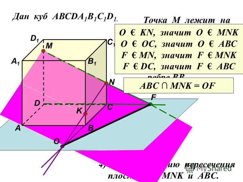 Дан куб АВСDA 1 B 1 C 1 D 1. D1D1 D С1С1 С В1В1 В А1А1 А M Точка М лежит на ребре DD 1 N Точка N лежит на ребре CC 1 K Точка K лежит на ребре BB 1 O F 4) Найдите линию пересечения плоскостей MNK и ABC. ABC MNK = OF O KN, значит О МNK O OC, значит О А