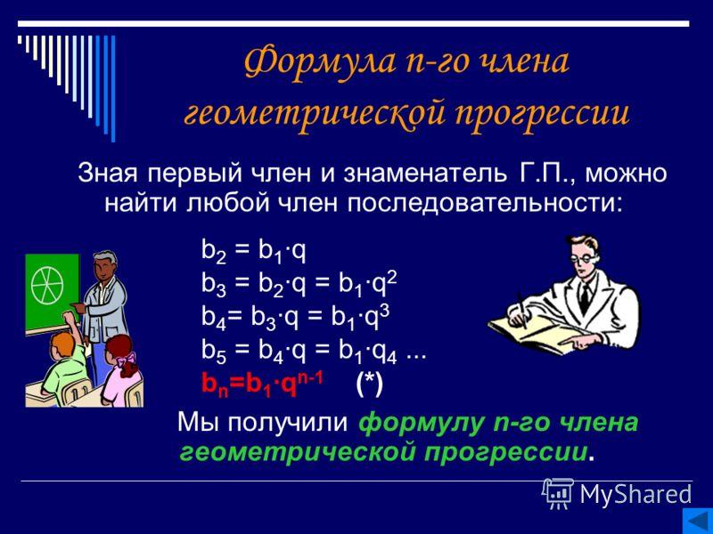 Формула n-го члена геометрической прогрессии Зная первый член и знаменатель Г.П., можно найти любой член последовательности: Мы получили формулу n-го члена геометрической прогрессии. b 2 = b 1 q b 3 = b 2 q = b 1 q 2 b 4 = b 3 q = b 1 q 3 b 5 = b 4 q