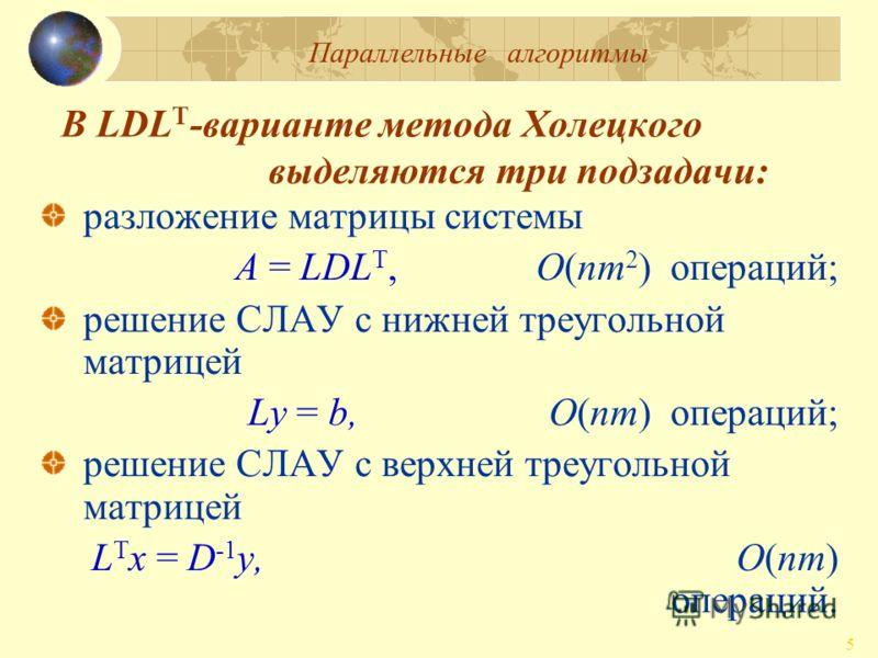 Параллельные алгоритмы 5 В LDL T -варианте метода Холецкого выделяются три подзадачи: разложение матрицы системы A = LDL T,O(nm 2 ) операций; решение СЛАУ с нижней треугольной матрицей Ly = b, O(nm) операций; решение СЛАУ с верхней треугольной матриц