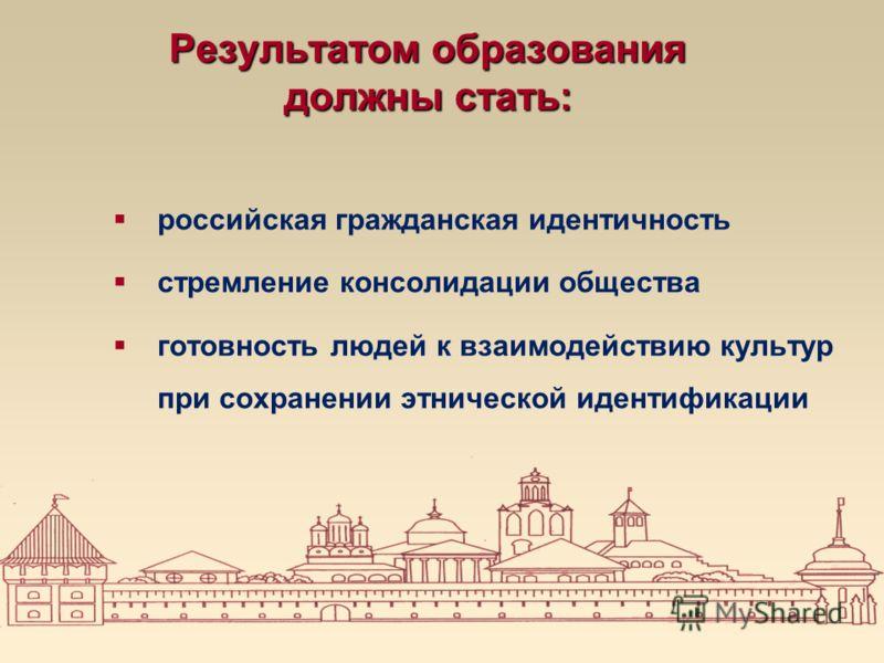 Результатом образования должны стать: российская гражданская идентичность стремление консолидации общества готовность людей к взаимодействию культур при сохранении этнической идентификации