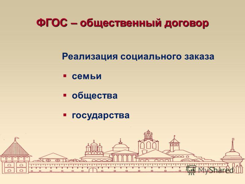 ФГОС – общественный договор Реализация социального заказа семьи общества государства