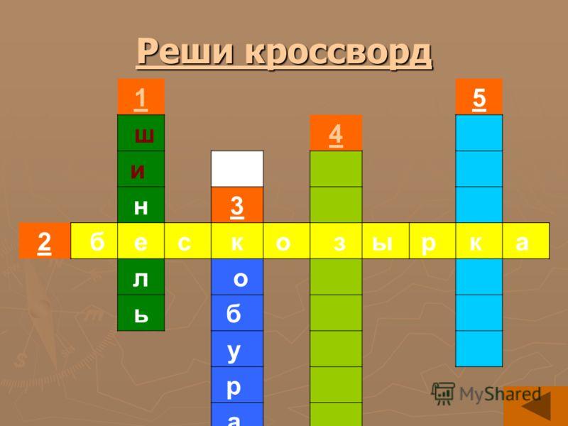 Реши кроссворд Реши кроссворд 15 ш4 и н3 2 бес ко зы р к а л о ьб у р а