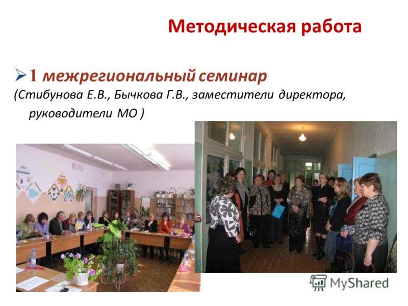1 межрегиональный семинар (Стибунова Е.В., Бычкова Г.В., заместители директора, руководители МО ) Методическая работа