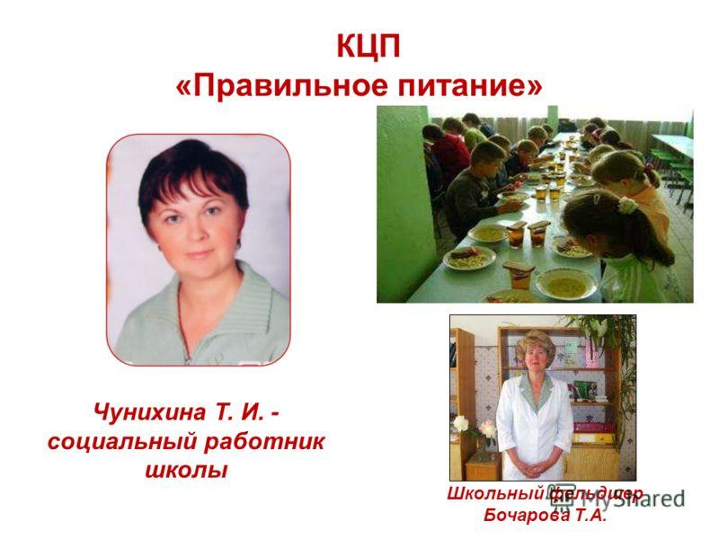 КЦП «Правильное питание» Чунихина Т. И. - социальный работник школы Школьный фельдшер Бочарова Т.А.