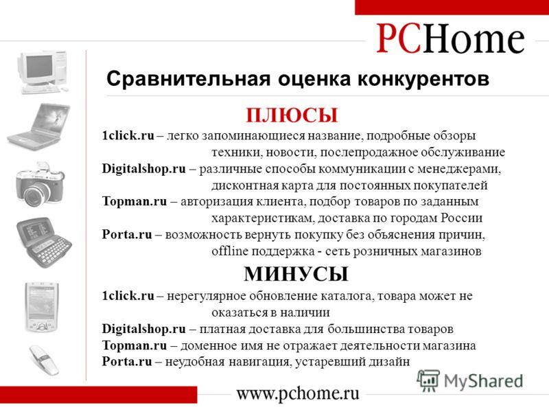 Сравнительная оценка конкурентов 1click.ru – легко запоминающиеся название, подробные обзоры техники, новости, послепродажное обслуживание Digitalshop.ru – различные способы коммуникации с менеджерами, дисконтная карта для постоянных покупателей Topm