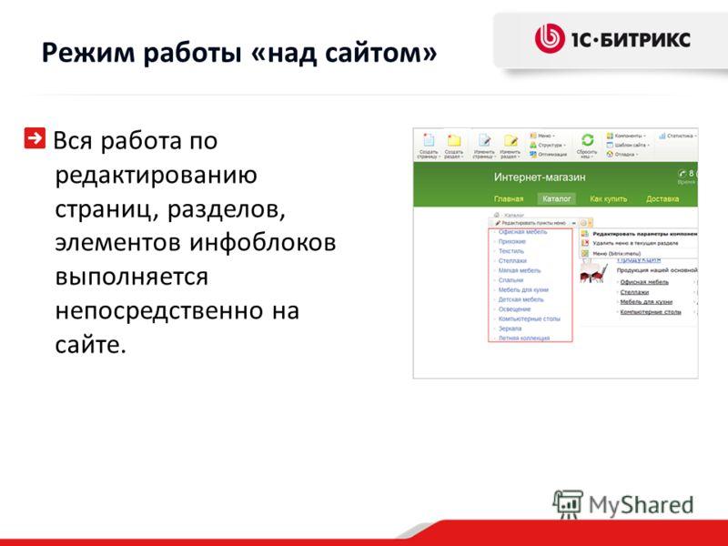 Вся работа по редактированию страниц, разделов, элементов инфоблоков выполняется непосредственно на сайте. Режим работы «над сайтом»