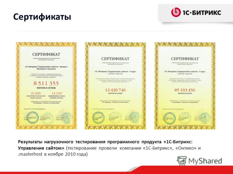 Результаты нагрузочного тестирования программного продукта «1С-Битрикс: Управление сайтом» (тестирование провели компании «1С-Битрикс», «Онтико» и.masterhost в ноябре 2010 года) Сертификаты
