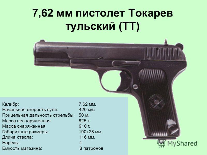 7,62 мм пистолет Токарев тульский (ТТ) Калибр: 7,62 мм. Начальная скорость пули: 420 м/с Прицельная дальность стрельбы: 50 м. Масса неснаряженная: 825 г. Масса снаряженная 910 г. Габаритные размеры: 190x28 мм. Длина ствола: 116 мм. Нарезы: 4 Емкость