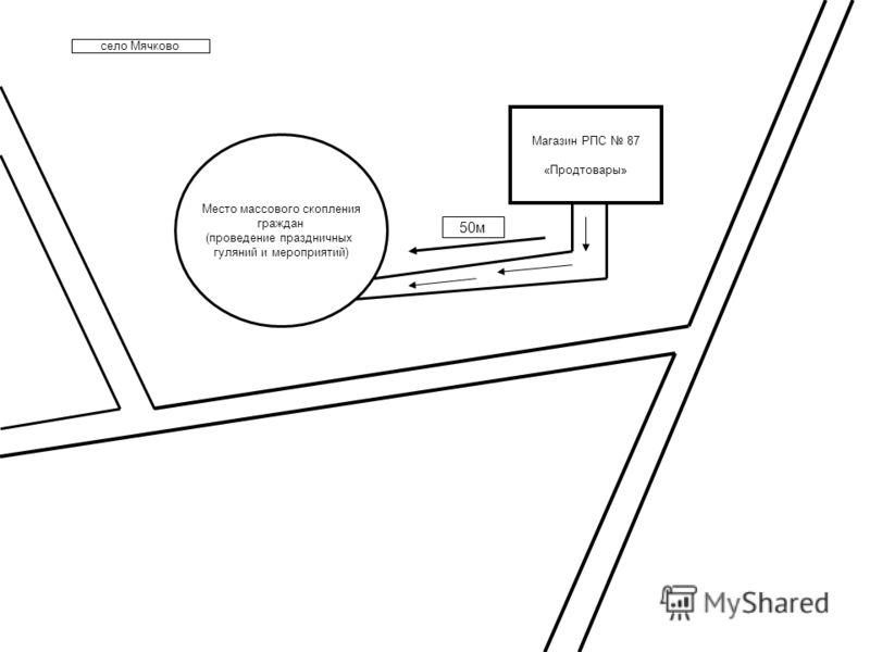 село Мячково Магазин РПС 87 «Продтовары» Место массового скопления граждан (проведение праздничных гуляний и мероприятий) 50м