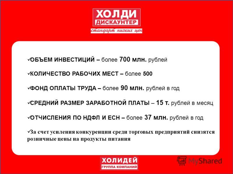 ОБЪЕМ ИНВЕСТИЦИЙ – более 700 млн. рублей КОЛИЧЕСТВО РАБОЧИХ МЕСТ – более 500 ФОНД ОПЛАТЫ ТРУДА – более 90 млн. рублей в год СРЕДНИЙ РАЗМЕР ЗАРАБОТНОЙ ПЛАТЫ – 15 т. рублей в месяц ОТЧИСЛЕНИЯ ПО НДФЛ И ЕСН – более 37 млн. рублей в год За счет усиления