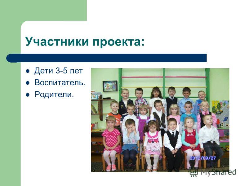 Участники проекта: Дети 3-5 лет Воспитатель. Родители.
