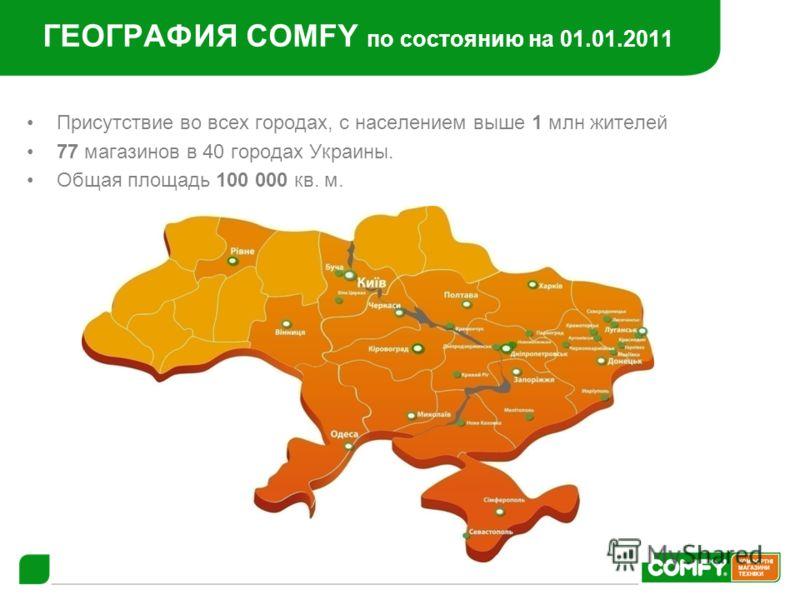 ГЕОГРАФИЯ COMFY по состоянию на 01.01.2011 Присутствие во всех городах, с населением выше 1 млн жителей 77 магазинов в 40 городах Украины. Общая площадь 100 000 кв. м.